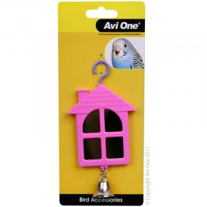 Avi One  Bird Toy House Shaped Mirror With Bell