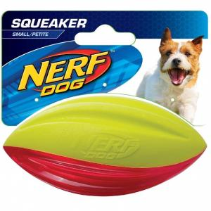 "NERF  Dog 4"" Tpr Hydrosport Squeak Football (yellow / Red)"