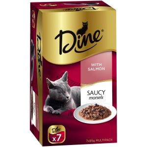 Dine Daily Variety - Saucy Morsels With Salmon - Cat Food Tray 7X85GM