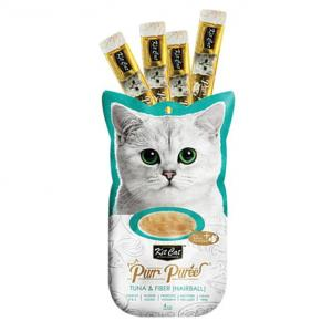 PURR PUREE Kit Cat Purr Puree Tuna &  Fibre (hairball)  4x15gm Sachets