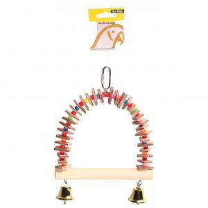 Avi One  Parrot Toy Wooden Perch With Leather & Acrylic Balls 15x23cm