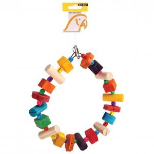 Avi One  Parrot Toy Wooden Ring With Acrylic Beads 24x27cm