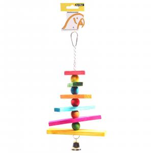 Avi One  Bird Toy Coloured Block Chain And Bell 28cm