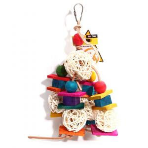 Avi One  Bird Toy Leather Rope Coloured Wood Block 35cm