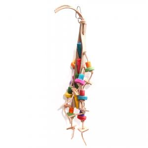 Avi One  Bird Toy Leather Rope Coloured Wood Beads 40x19cm