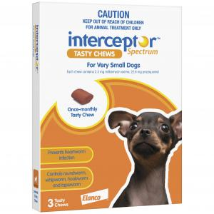 Interceptor  Spectrum - Tasty Chew - Worming Treatment For Extra Small Dogs 3 pack