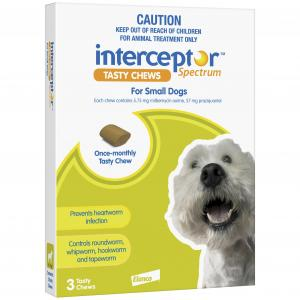 Interceptor  Spectrum - Tasty Chew - Worming Treatment For Small Dogs 3 pack