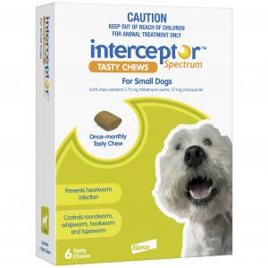 Interceptor  Spectrum - Tasty Chew - Worming Treatment For Small Dogs 6 pack