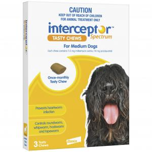 Interceptor  Spectrum - Tasty Chew - Worming Treatment For Medium Dogs 3 pack