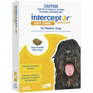 Interceptor  Spectrum - Tasty Chew - Worming Treatment For Medium Dogs 6 pack