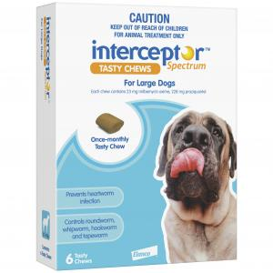 Interceptor  Spectrum - Tasty Chew - Worming Treatment For Large Dogs 6 pack