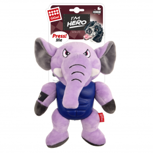 GIGWI  I'm Hero Tpr Armor Elephant Tpr / Plush With Sque