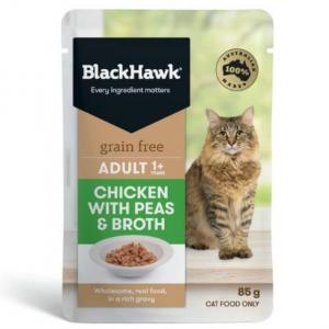 Black Hawk B/hwk Cat Chicken/peas/broth 85g