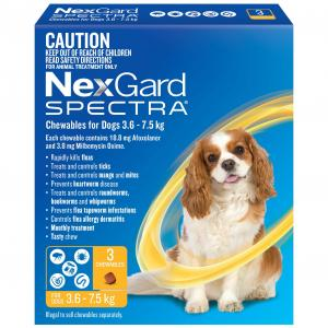 NEXGARD SPECTRA  Chews For Dogs  3.6-7.5kg 3 pack