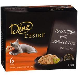 Dine Desire - Flaked Tuna With Shredded Crab - Canned Cat Food 6X85GM