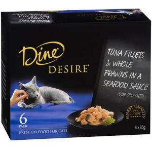 Dine Desire - Tuna Fillets And Whole Prawns In A Seafood Sauce - Canned Cat Food 6X85GM