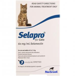 SELAPRO  Spot On Treatment For Cats 3 Pack
