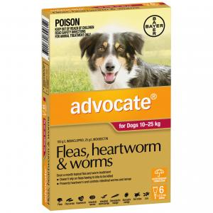 Advocate Flea And Worm Treatment For Dogs 10kg - 25kg 6 pack