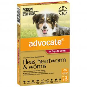 Advocate Flea And Worm Treatment For Dogs 10kg - 25kg 3 pack