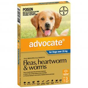 Advocate Flea And Worm Treatment For Dogs 25kg+ 3 pack