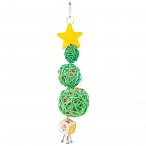 Kazoo  Christmas Wicker Balls With Star & Bell Bird Toy