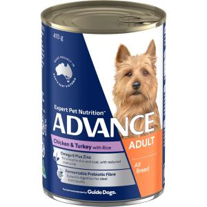 Advance Adult All Breed - Chicken Turkey And Rice - Canned Dog Food 410g