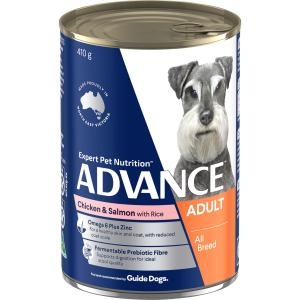 Advance Adult All Breed - Chicken Salmon And Rice - Canned Dog Food 410g