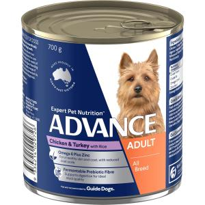 Advance Adult All Breed - Chicken Turkey And Rice - Canned Dog Food 700g