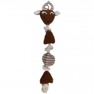 Bark-a-boo  2d Rope With Crinkle & Squeak Deer Dog Toy