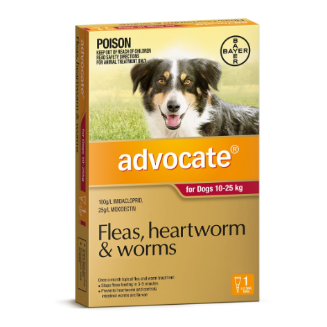 Advocate Advocate - Flea and Worm Treatment for Dogs 10kg - 25kg thumbnail