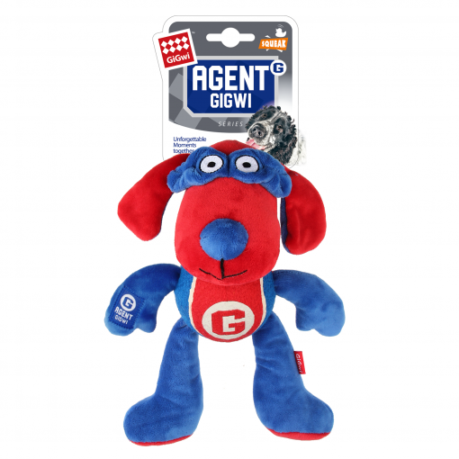 GIGWI Gigwi Agent Gigwi Dog Plush And Tennis Ball With Squeaker thumbnail