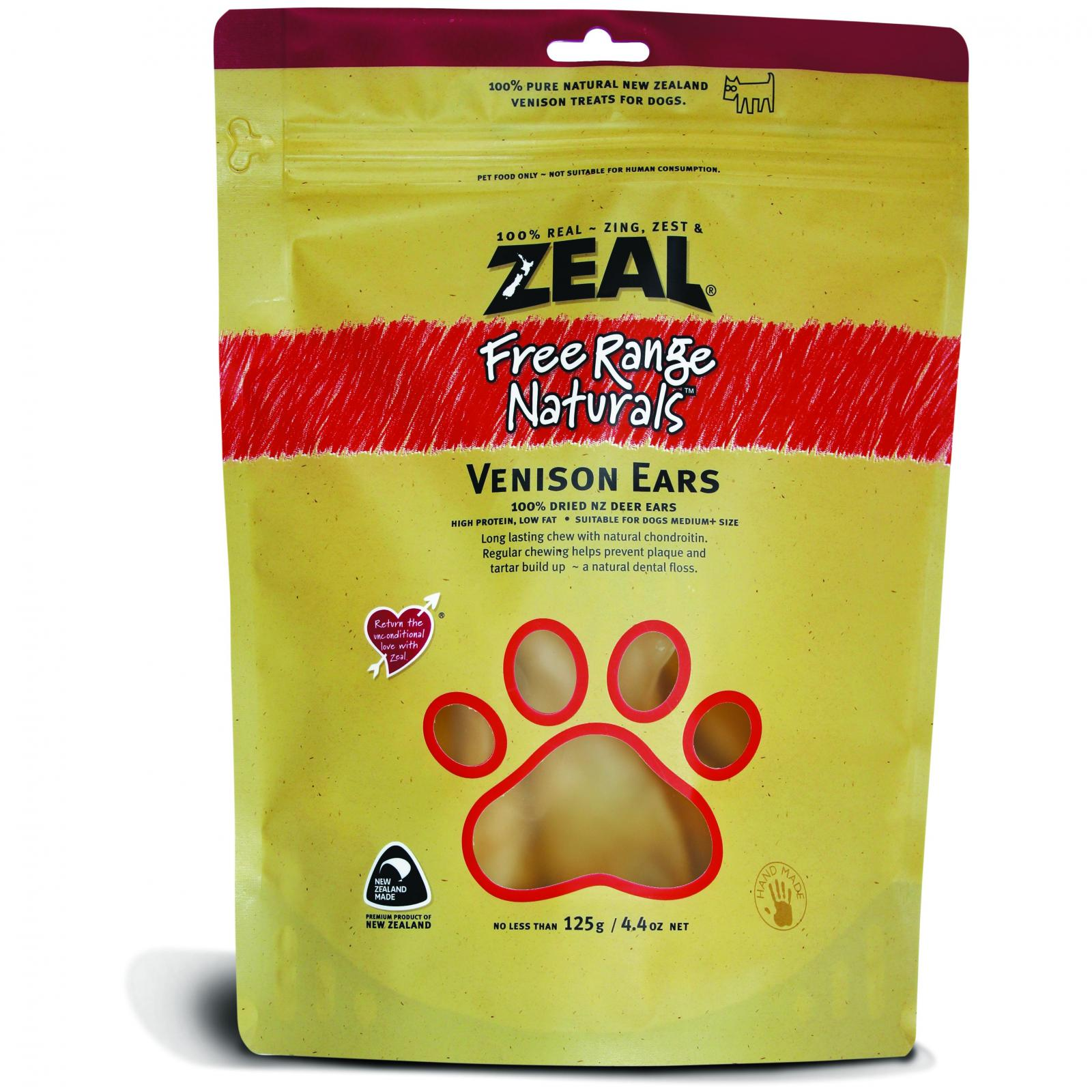 ZEAL FRN Zeal Free Range Naturals Venison Ears Dog Treats 125G