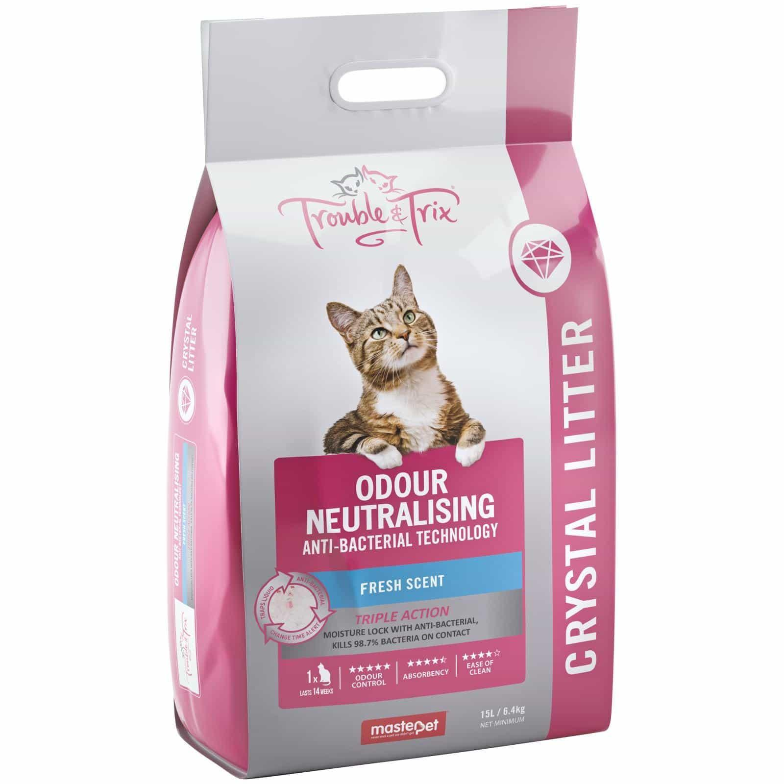 Trouble N Trix Trouble & Trix Fresh Scent Anti Bacterial Crystal Cat Litter