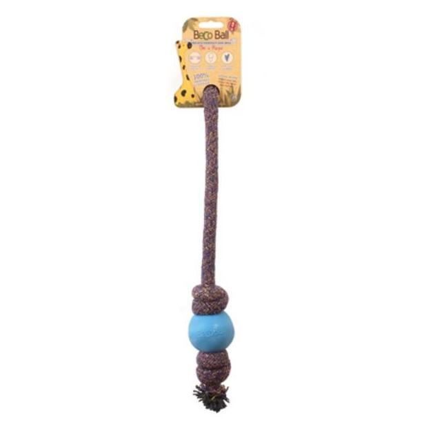 Beco Things BecoThings - Ball with Rope - Eco Friendly Dog Toy